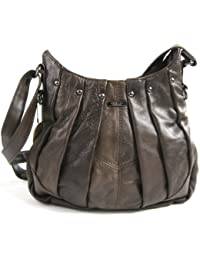 2c5810cc13 On Trend Ladies Real Leather Handbag Shoulder Bag with Pleated Design and  Long Adjustable Strap