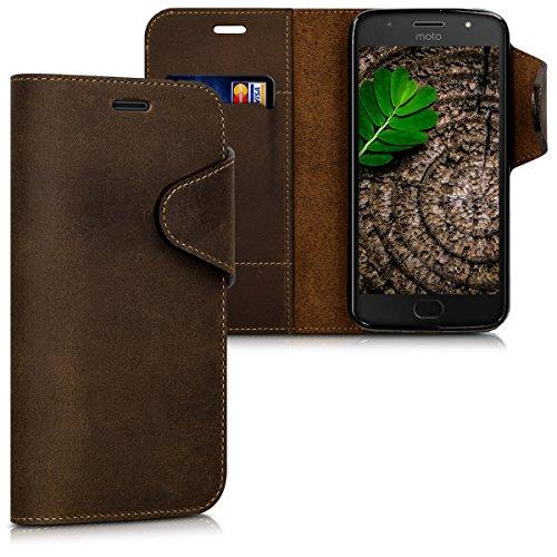 kalibri Hülle für Motorola Moto G5S - Echtleder Wallet Case Schutzhülle mit Fach und Ständer in Braun