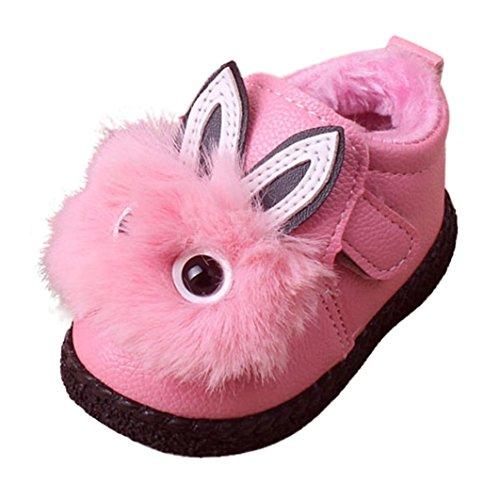 JERFER Kinder Nette Karikatur Baby Mädchen Warm Samt Weiche Sohle Stiefel Kinder Kaninchen Schuhe Winterstiefel Freizeitschuhe (17, Rosa) -