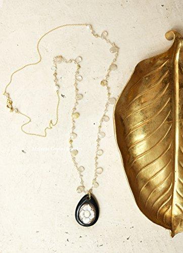 Collana ruty in argento 925 placcato oro con catena rosario con quarzo rutilato e pendente con cammeo autentico scolpito a mano su conchiglia sardonica