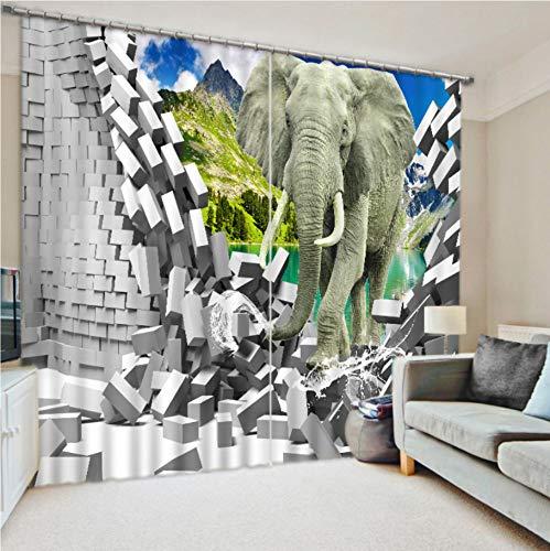 WKJHDFGB Benutzerdefinierte Verdunkelungsvorhänge Benutzerdefinierte Moderne 3D Foto Elefant Vorhang Küchenvorhänge Wohnkultur 245X280Cm