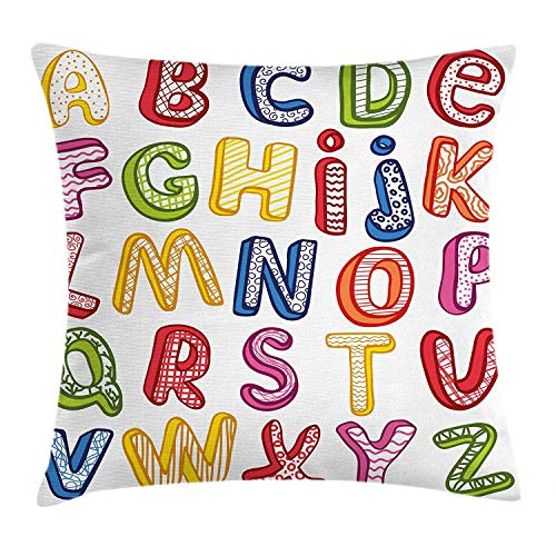 Educational Throw Pillow Cushion Cover, Hand Drawn Colorful 3D Style ABC Letters with Kids Patterns Joyful Fun Design, Decorative Accent Pillow Case, 18 X 18 Inches, Multicolor