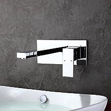 homelody robinet mural mitigeur encastrer chrom design pour lavabo vasque mousseur abs monocommande robinetterie salle - Robinet Salle De Bain Mural