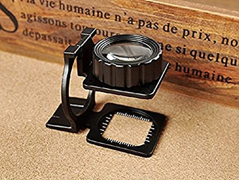 Portable 15X Jewelers Loupe Magnifier - Double Deck Glass Magnifying Eye Loop Stand- Perfect Low Vision Reading Aide for Books, Menus, Magazines Eye Loop Stand