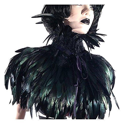Kostüm Feder Flügel - keland KELANDSchwarzer Gothic Victorian natürlicher Feder-Kap-Schal-Stola Poncho mit-Kragen (Schwarz)