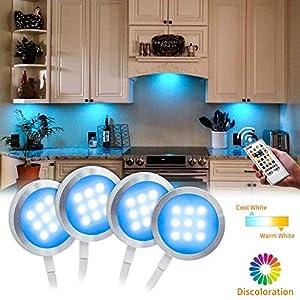 BASON Unterbauleuchte Küche Schrankbeleuchtung, Vitrinenbeleuchtung, Led Beleuchtung, Led Leiste Rgb+Weiß Schranklicht für Regale Küche Dekoration, Dimmbar, Timing-Funktion mit Fernbedienung.
