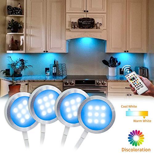 Küche Regal Licht (BASON Unterbauleuchte Küche Schrankbeleuchtung, Vitrinenbeleuchtung, Led Beleuchtung, Led Leiste Rgb+Weiß Schranklicht für Regale Küche Dekoration, Dimmbar, Timing-Funktion mit Fernbedienung.)