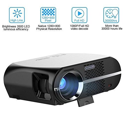 Neefeaer Video Beamer 3500 Lumen HD LED Home Projektor 1280x800 WXGA Auflösung Unterstützung 1080P HDMI USB VGA für Heimkino Theater Video Film Projektor