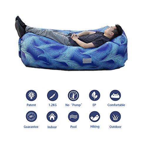 a-nam aufblasbar Lounge–self-designed Tragbarer Air Sofa, Pocket Design und Tragetasche Outdoor Camping Bett, geeignet für Innen- und Außenpools, Strand, Wiese, Backyard wasserfest und strapazierfähig, hellblau