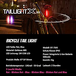SOOJET RL75 Luz Trasera para Bicicleta USB Recargable, Luz Trasera LED Bicicletas Roja y Azul, 5 Modos, Resistente al Agua, Instalación Fácil, Bicicleta de Carretera o Montaña