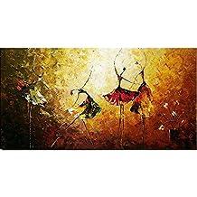 Decdeal - Bailarina de Ballet, Cuadro Pintura al Óleo de Pared, Hecha a Mano, 60x120cm (Sin Bastidor)