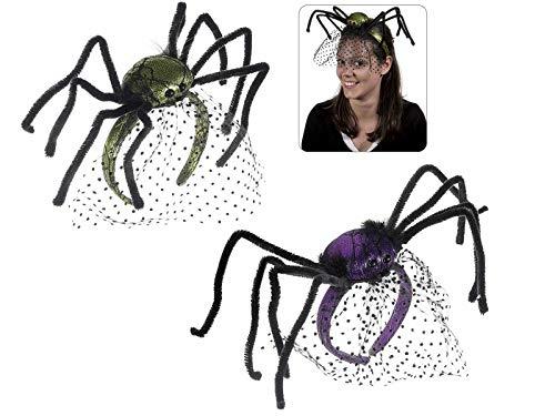 Ideapiu 6 Cerchietto Halloween Con veletta e ragno gambelunghe (Halloween Vestito Di)
