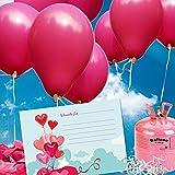 50 Ballonflugkarten zur Hochzeit GELOCHT, PORTOFREI möglich, Flugkarten für Hochzeitsballons im Set zum Hochzeitsspiel im Ballonflugkartenset - Hochzeit Herzballons