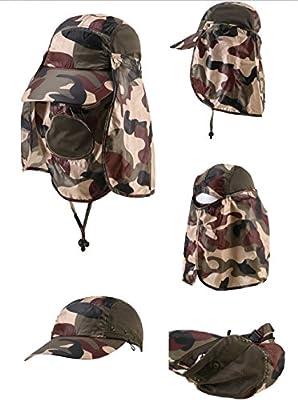 Sonnenhut mit abnehmbarer Maske und Nackenschutz UPF 50+ Kappe 3 in 1 + Mesh-Netz + Atmungsaktiv Fischerhut Herren Damen