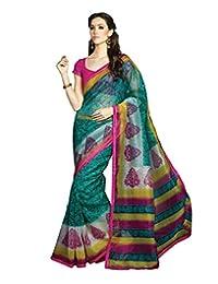 IndiWeaves Women Super Net Printed Green Saree