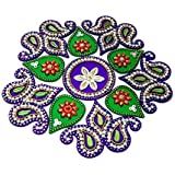 KRIWIN® 10-to 11 inches Dia - Floor/Wall/Table Rangoli Decorative Showpiece (Acrylic) (Flower)