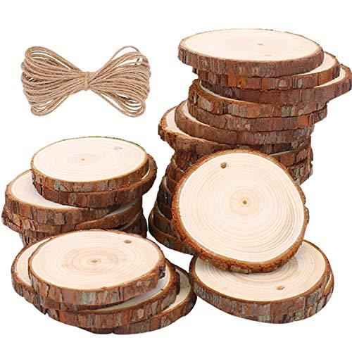 Kinderspielzeug 30 Stücke Holzscheiben Holz Log Scheiben Nnatürliche Jute Seil für DIY Handwerk Holz-Scheiben Hochzeit Mittelstücke Weihnachten Dekoration Baumscheibe (Mittelstücke Holz Hochzeit)