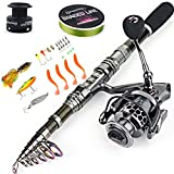 Sougayilang Telescopic Fishing Rod Reel Combos with Carbon Fiber Fishing Pole Spinning Reels