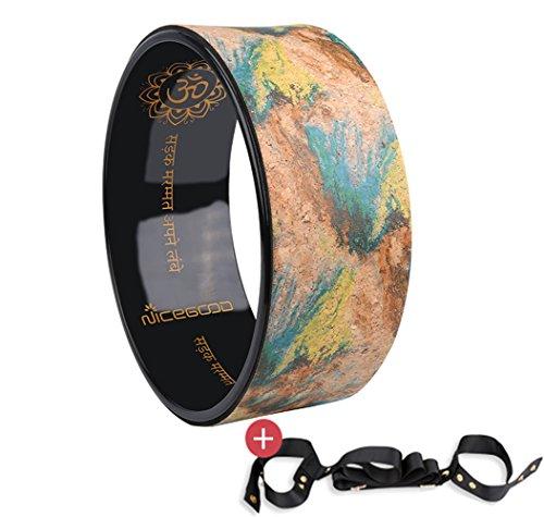 A-Flower Yoga-Rad Naturkork Dharma-Übungsrad 32cm x 12.5cm zur Verbesserung der Körperhaltung und zum tieferen Dehnen…