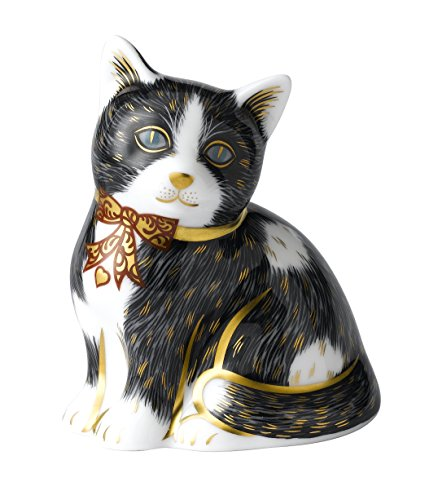 royal-crown-derby-blanco-y-negro-pisapapeles-de-cristal-diseno-de-gato-acero-inoxidable-multicolor