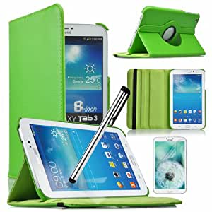 Eallc 360 Degree Rotating Case Cover Auto Sleep/Wake Feature for Samsung Galaxy Tab 3 8.0 T310 T311 T315 with Screen Protector and Stylus Pen (Green)