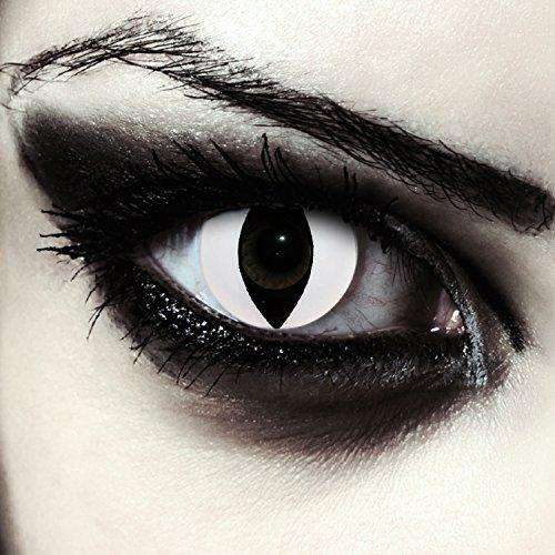 ontaktlinsen für Karneval oder Halloween Kostüm Farblinsen in weiß Design: White Cateye + gratis Kontaktlinsenbehälter ()
