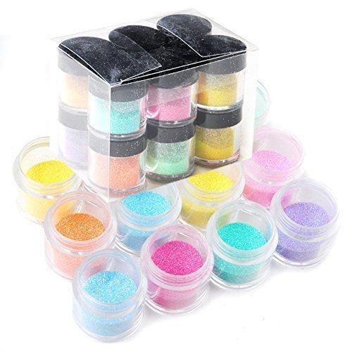 Mode Galerie 12 Couleur Taille Jumbo Paillettes Brillantes Nail Art Trousse À Outils Acrylique UV Poudre Poussière