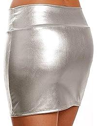 ZILucky Damen Sexy Elegante Röcke Minirock Rock in Latex Leder Lack Optik WetLook Clubwear Party Kurze Mini-Röcke