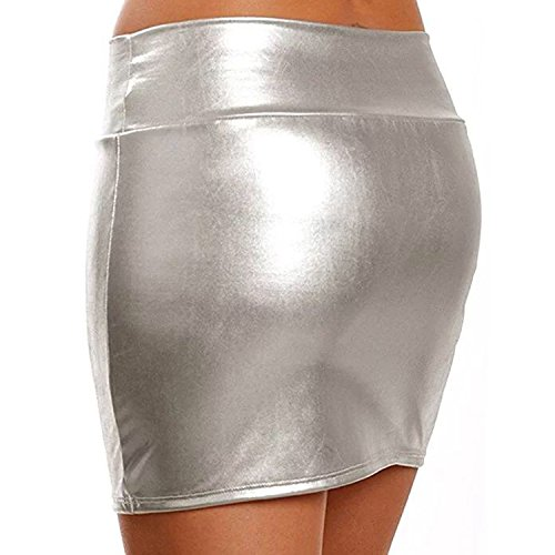 ZILucky Damen Sexy Elegante Röcke Minirock Rock in Latex Leder Lack Optik WetLook Clubwear Party Kurze Mini-Röcke (Silber) -