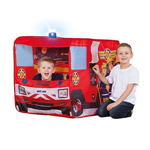 feuerwehrzelt John 78208 Feuerwehrauto Sam mit Blaulicht-Spielzelt, Feuerwehrzelt, Kinderzelt, Spielhaus mit gedrucktem Motiv für Kinder, Rot