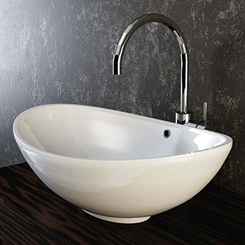 VILSTEIN© Keramik Waschbecken Aufsatz-Waschbecken Aufsatz-Waschschale Waschtisch oval weiß 60 cm