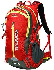 facenature Deportes al aire libre Senderismo impermeable mochila Daypacks Montañismo bolso 40L 50L viaje mochila de senderismo (con cubierta de lluvia, mujer hombre Infantil, F30601, rojo
