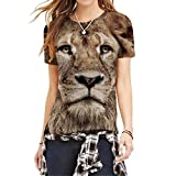 Lebendige Lion Warrior T-Shirt Rundhals Shirt Tierkopf 3D Drucken Tops M