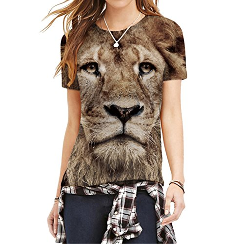 Lebendige Lion Warrior T-Shirt Rundhals Shirt Tierkopf 3D Drucken Tops M (Training T-shirt Warrior)