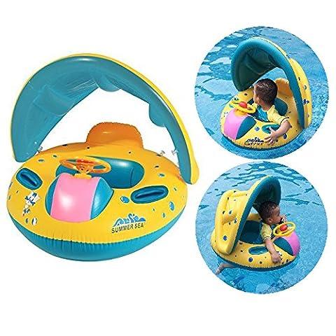 Itian Bateau Gonflable bébé flotteur Anneau de natation voiture Bouée siège gonflable avec parasoil Floating Toy Jeu de Plein Air Plage Nage pour bébés