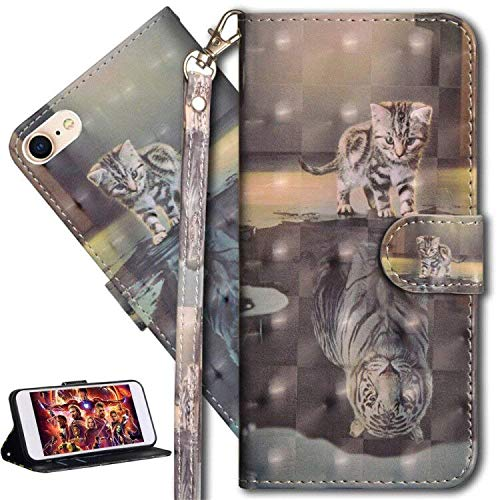 HMTECH Huawei Y6 Pro 2017 Funda Elegante Retro Lindo Gato Tigre patrón PU Leather Wallet con Business Card Holder Stand Function Case para Huawei P9 Lite Mini/Y6 Pro 2017,Cat Tiger YX