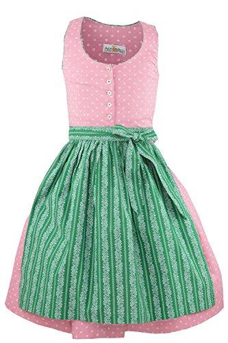Almsach® Mädchen Kinderdirndl 3tlg. Altrosa Trachtenkleid Dirndl, Bluse Schürze - Marken - Dirndl Set- ArtNr.: 220/318 - Gr. 170 OHNE Bluse