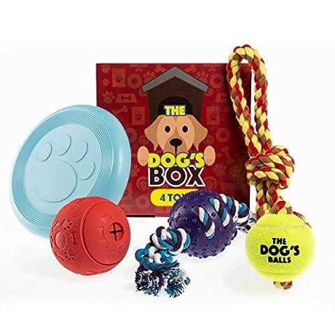 The Dog's Box, Coffret cadeau 4 jouets pour chien/chiot Inclus 1 balle à mâcher, 1 balle de tennis avec corde, 1 balle à mâcher en caoutchouc avec corde, 1 frisbee, Cadeau d'anniversaire idéal pour chien