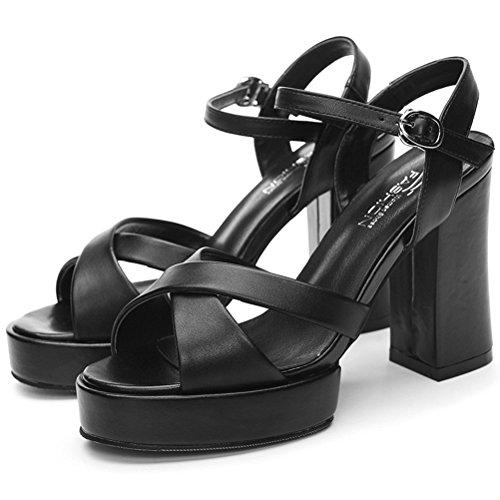 Femme Bout Ouvert Plateau Sandales d'été moderne Bloc Talon Talons hauts Épaisseur sol Chaussure tendance Noir - Noir