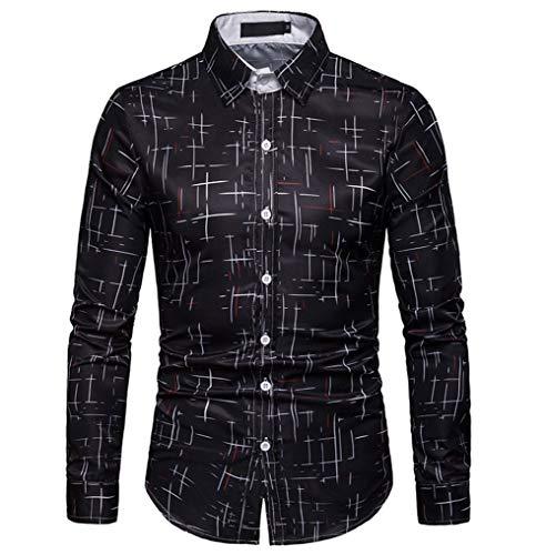 Herrenhemd 3D Sternenmuster Lässig Klassisch Langarm T-Shirt Lose Urlaubsreisen Büroangestellte Wild Shirt Top,Schwarz,XXXL