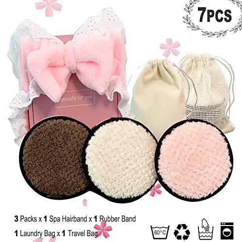 Almohadillas de microfibra reutilizables (paquete de 3), x diadema facial para spa, bolsa de lavandería/viaje, producto ecológico, alternativa de almohadilla de lana de microfibra -S0815
