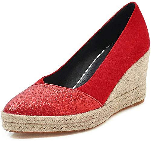 Zapatos de tacón Alto con cuña y Plataforma Gruesa para Mujer Alpargatas con Lazo Bombas, Zapatos...