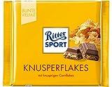 RITTER SPORT Knusperflakes (10 x 100 g), cremige Vollmilchschokolade mit knusprigen Cornflakes, Tafelschokolade, schokoladiges Knuspererlebnis