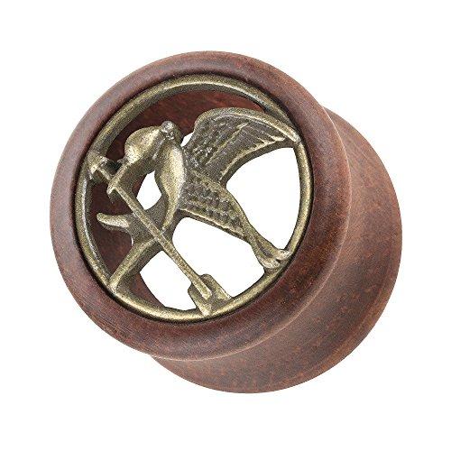 Piercingfaktor Ohr Plug Flesh Tunnel Piercing Ohrpiercing Holz Organic Double Flared mit Tribute von Panem Vogel Inlay Gold Braun 12mm Spotttölpel Vogel