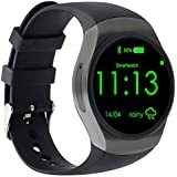 KW18 Reloj Inteligente, AGPtek Bluetooth Smartwatch teléfono 1,3 pulgadas AMOLED IPS Ronda pantalla táctil resistente al agua con ranura para tarjeta SIM, Soporte SIM TF del sueño del monitor, monitor de ritmo cardiaco y podómetro para IOS + Android Smartphones -IP67 Impermeable, no para la natación
