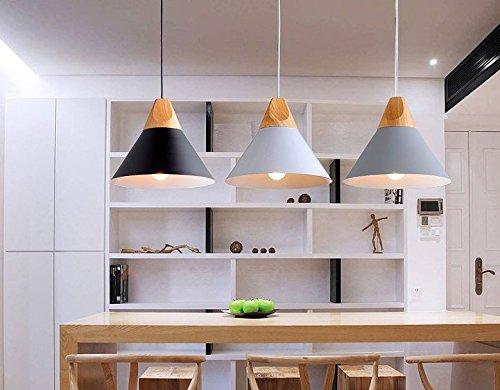 Suspension métal et bois blanche intérieur blanc