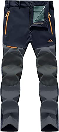 EKLENTSON Men's Waterproof Softshell Fleece Lined Outdoor Walking Trousers Warm Thicken Hiking Ski Pants with Zip Pockets