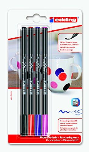 Porzellan-Pinselstift 4200 4 Farben | schwarz rot lila und pink