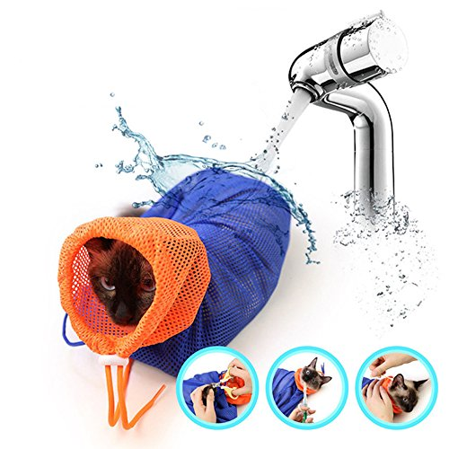 AKINO Adjustable Anti-scratch Cat Grooming Bag Cat Bath Bag, für Baden und Putzen,Nägel Schneiden, Waschen Injizierender Examing Augen Dropping Medizin