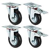 Forever Speed 4 ruote con freno pesanti, 100 mm, portata 70 kg per ruota, colore nero, in gomma e lamiera d'acciaio, zincato, argento/nero